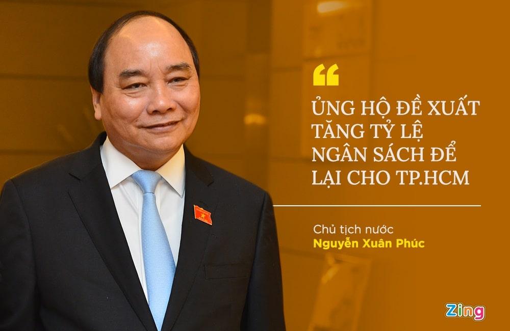 Chủ tịch nước Nguyễn Xuân Phúc ủng hộ tỉ lệ dành cho TP.HCM