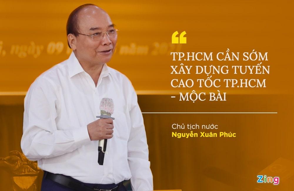 Chủ tịch nước Nguyễn Xuân Phúc chỉ đạo xây dựng cao tốc TP.HCM Mộc Bài